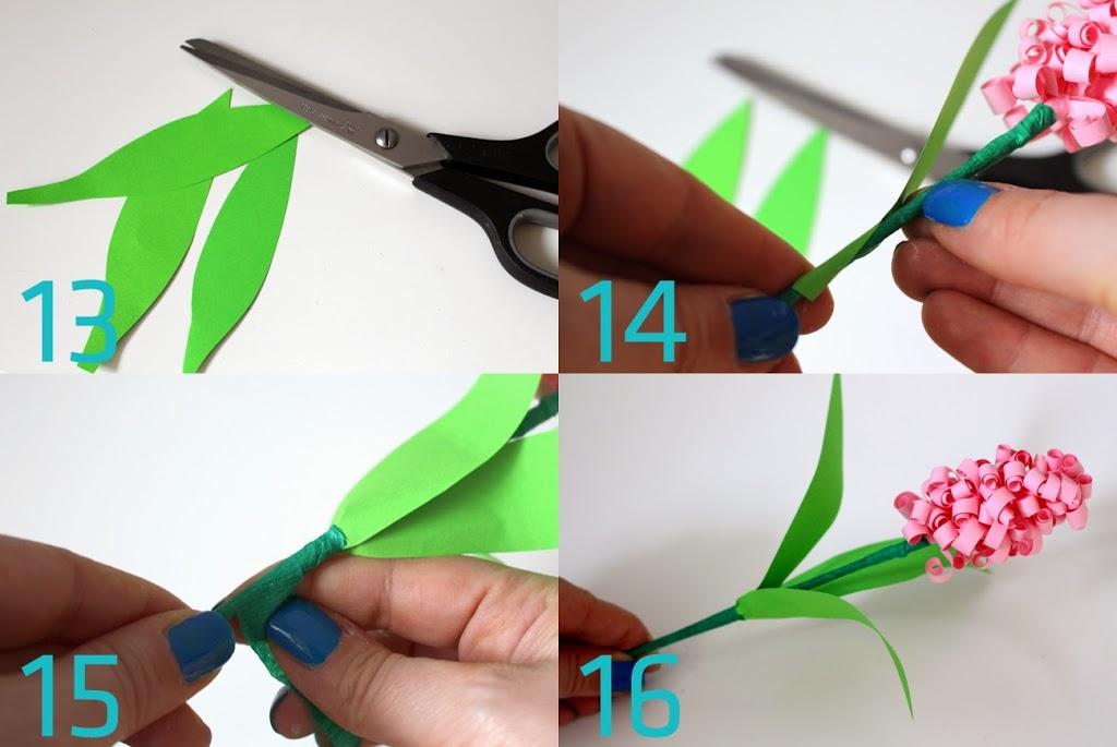 Papierowe hiacynty. Papierowe wiosenne kwiaty.